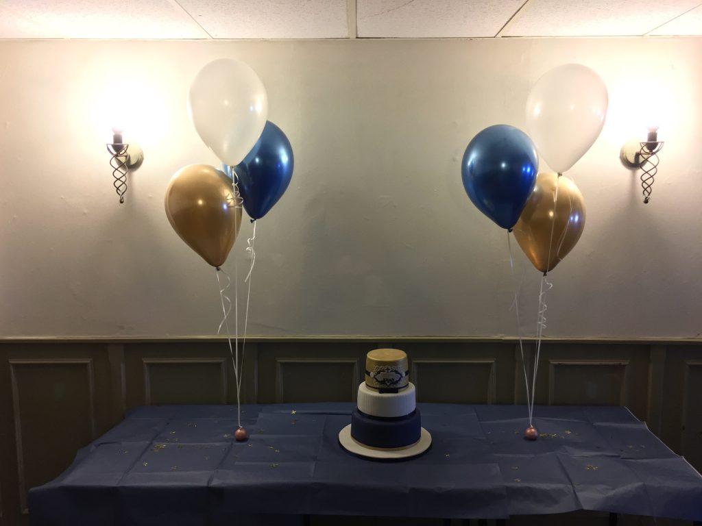 chrome balloons, cake table, birthday balloons