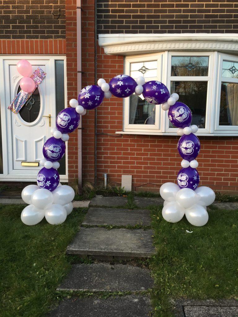 disney, frozen, anna, elsa, balloon arch, birthday balloons