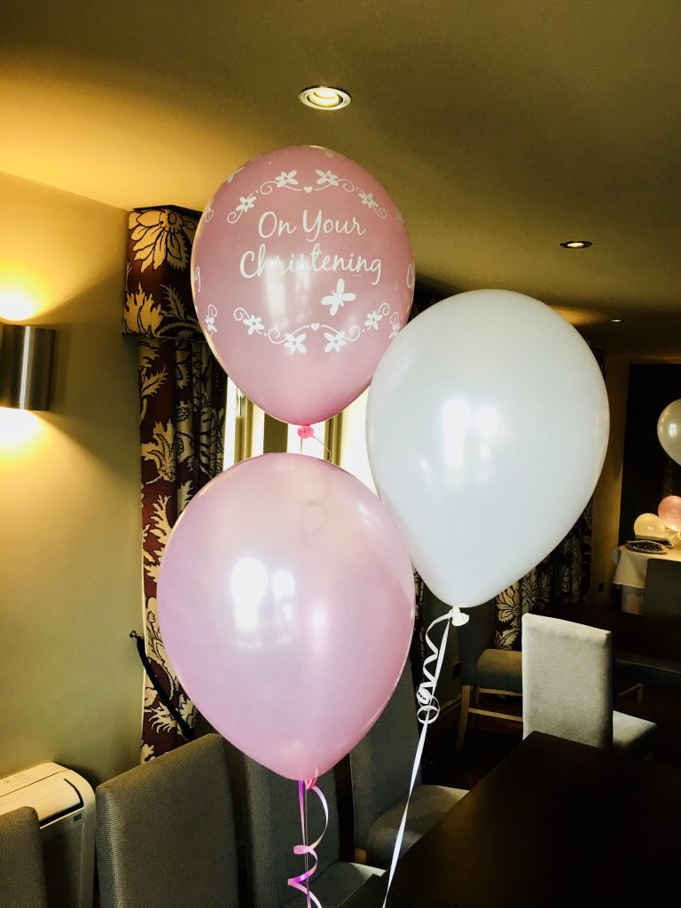christening balloon table cluster, decor